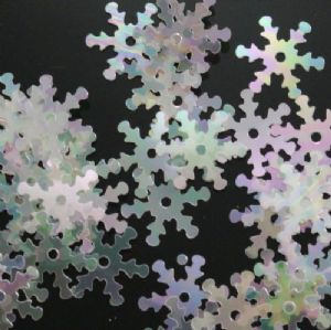 CLEARANCE Value Pack 50g 15mm Semi Transparent Iridescent Snowflake Sequins.